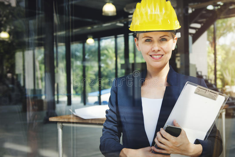 Concept d'Engineer Construction Design d'architecte de femme d'affaires image stock