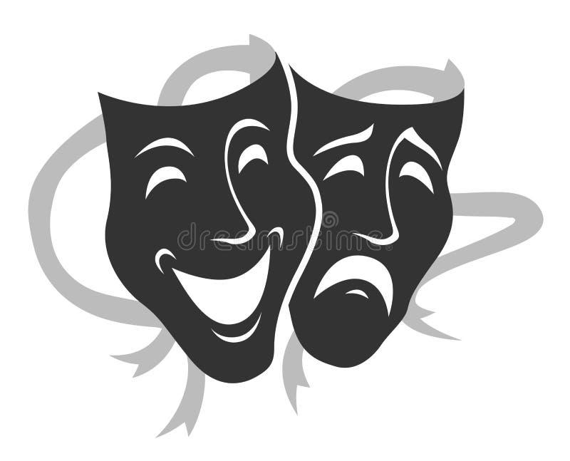 Concept d'ensemble de vecteur de symboles de masque de théâtre, triste et heureux illustration de vecteur