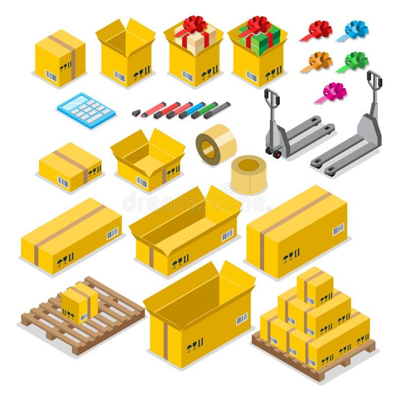 Concept d'entrepôt de la livraison d'entreposage en caisse de marchandises de boîte illustration stock