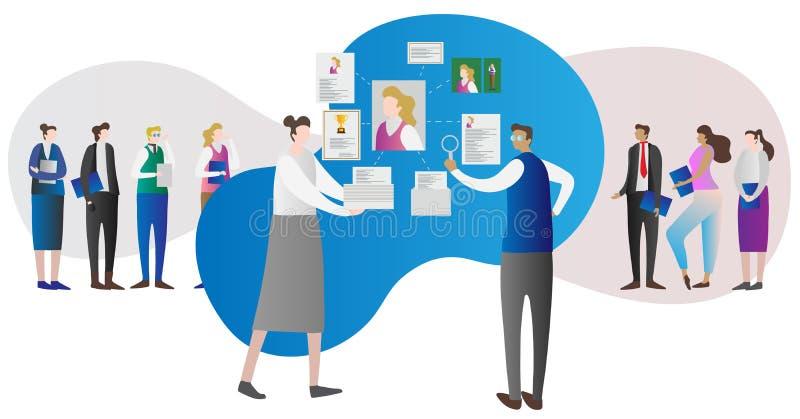 Concept d'entreprise de travail de recherches de ressource humaine de société avec l'employeur et les employés illustration stock
