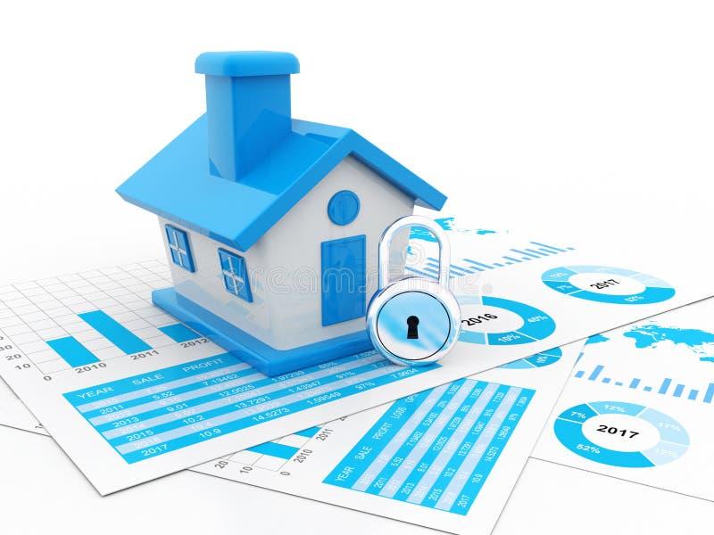 Concept d'entreprise immobilière à l'arrière-plan blanc 3d rendent illustration stock