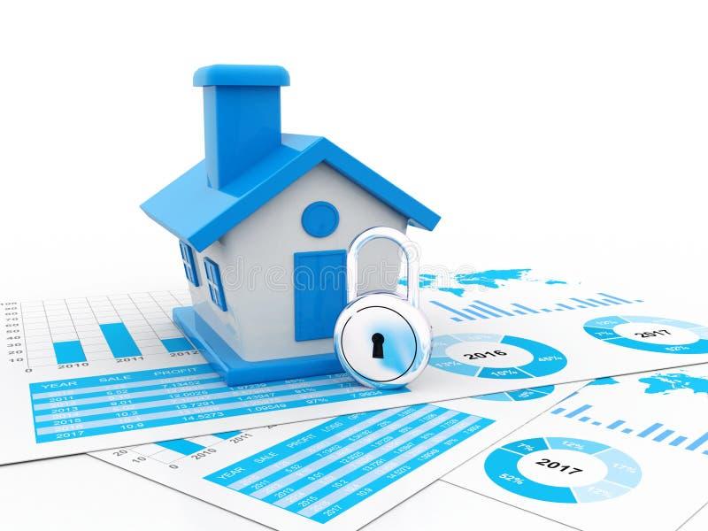 Concept d'entreprise immobilière à l'arrière-plan blanc 3d rendent illustration libre de droits