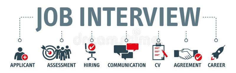 Concept d'entrevue d'emploi avec des icônes d'affaires illustration libre de droits