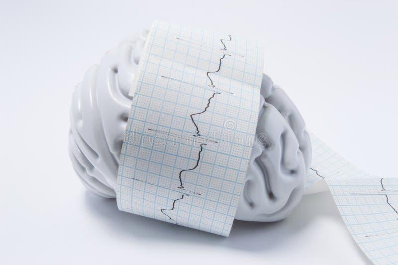 Concept d'examen de cerveau comme vagues d'ECG Forme de l'esprit humain enlacée avec la vague elektrokardiogrammy de bande paerfo image libre de droits