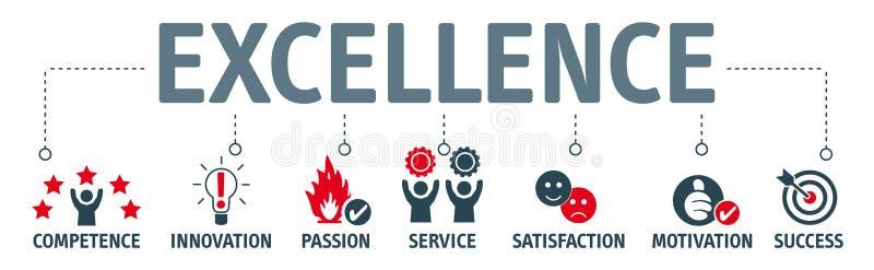 Concept d'excellence - bannière avec des mots-clés et des icônes illustration de vecteur