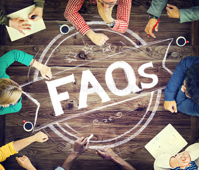 Concept d'explication de conseils de foire aux questions de FAQ image libre de droits