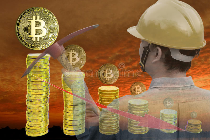 Concept d'exploitation de Bitcoin photo stock