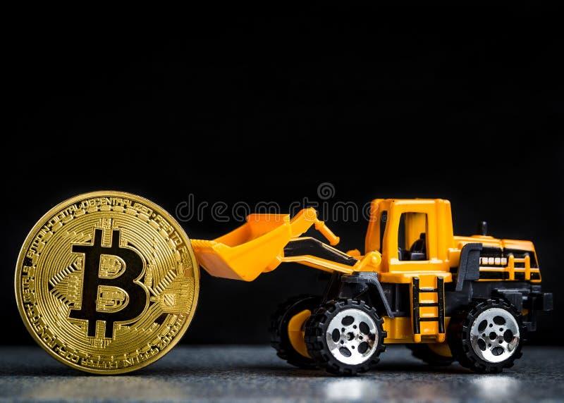 Concept d'exploitation de cryptocurrency de Bitcoin Technologie de Blockchain MI images libres de droits