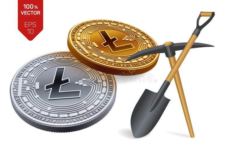 Concept d'exploitation de Litecoin pièce de monnaie 3D physique isométrique avec la pioche et la pelle Devise de Digital Cryptocu illustration stock
