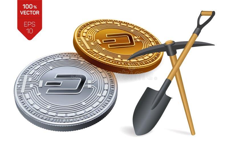 Concept d'exploitation de tiret pièce de monnaie physique isométrique du peu 3D avec la pioche et la pelle Devise de Digital Cryp illustration libre de droits