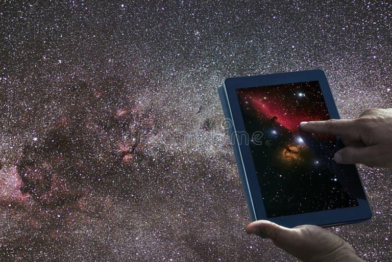 Concept d'exploration d'astronomie d'espace Manière laiteuse de comprimé de ciel nocturne images libres de droits