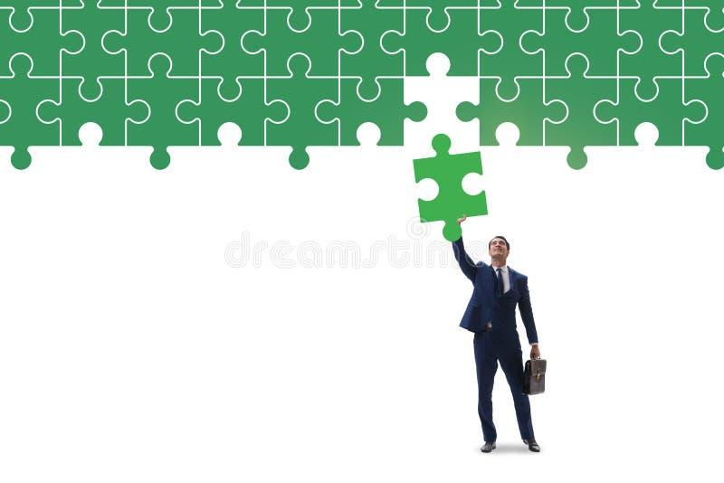 Concept d'homme d'affaires avec manquer le morceau de puzzle denteux illustration de vecteur