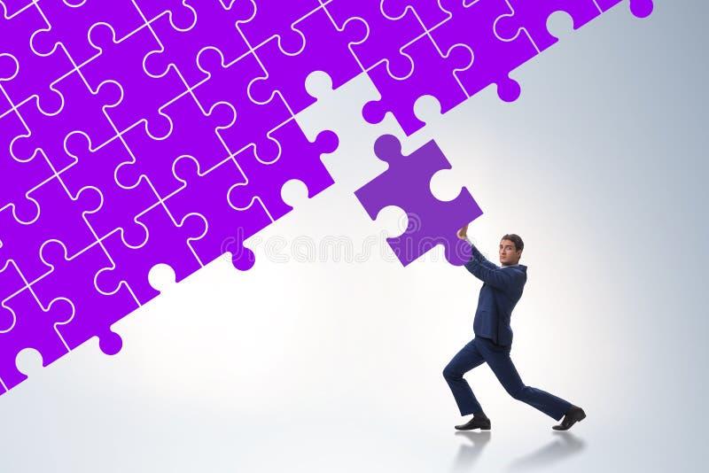 Concept d'homme d'affaires avec manquer le morceau de puzzle denteux illustration stock