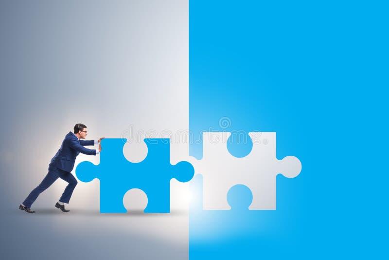 Concept d'homme d'affaires avec manquer le morceau de puzzle denteux illustration libre de droits