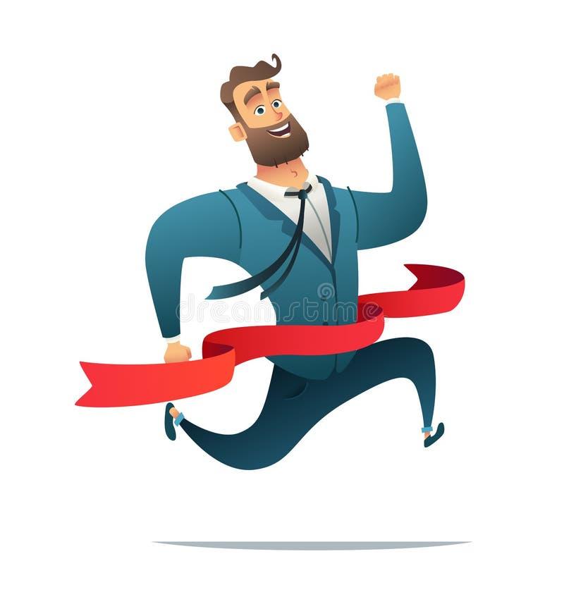 Concept d'homme d'affaires ou de directeur réussi sur une finition Employé de bureau atteignant la ligne d'arrivée illustration de vecteur