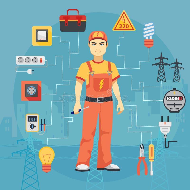 Concept d'homme d'électricien avec les outils professionnels d'instruments illustration de vecteur