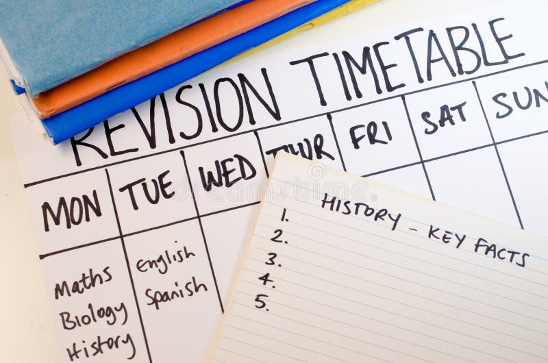 Concept d'horaire de révision ou d'étude photo stock