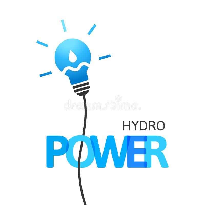 Concept d'hydroélectricité avec la baisse d'ampoule et d'eau illustration de vecteur
