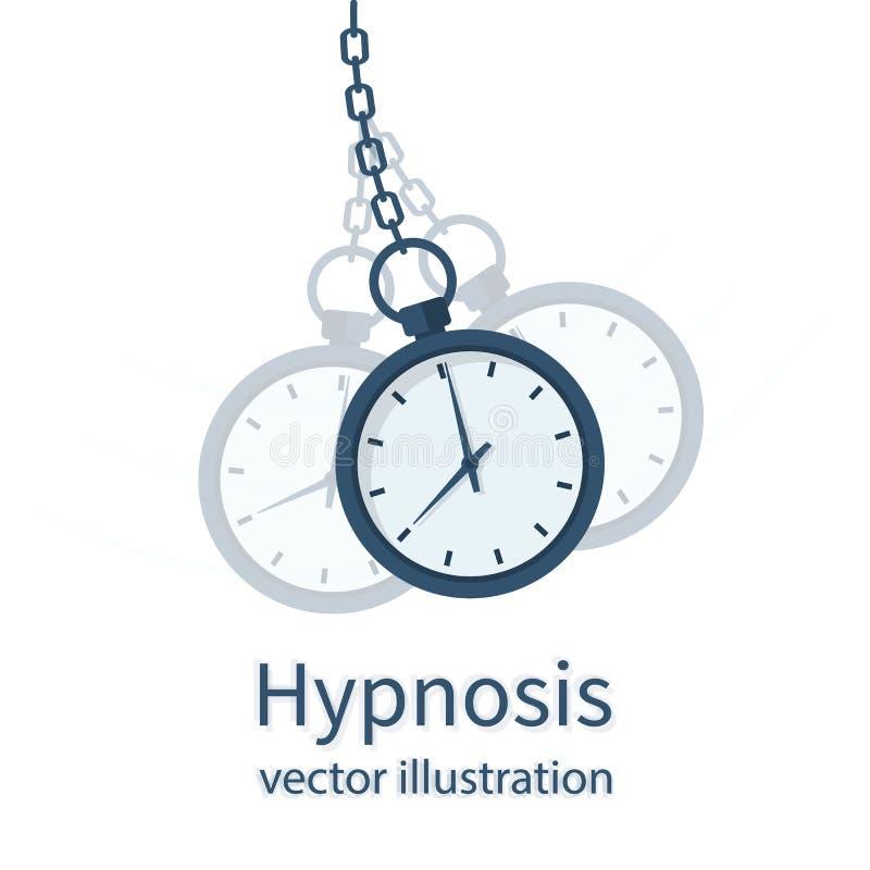 Concept d'hypnose Montre sur une chaîne illustration de vecteur