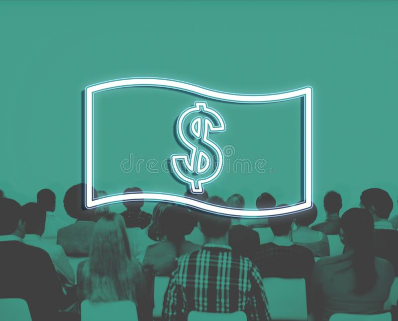 Concept d'icône d'argent de comptabilité de flux de liquidités d'économie photos stock
