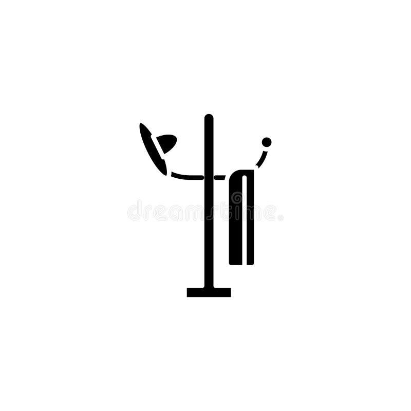 Concept d'icône de noir d'arbre de chapeau Symbole plat de vecteur d'arbre de chapeau, signe, illustration illustration stock