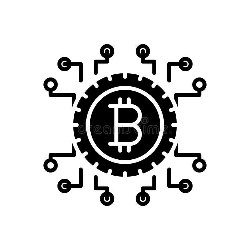 Concept d'icône de noir de blockchain de Bitcoin Symbole plat de vecteur de blockchain de Bitcoin, signe, illustration illustration libre de droits