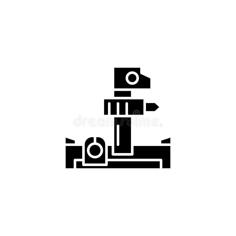 Concept d'icône de noir d'instrument industriel Symbole plat de vecteur d'instrument industriel, signe, illustration illustration stock