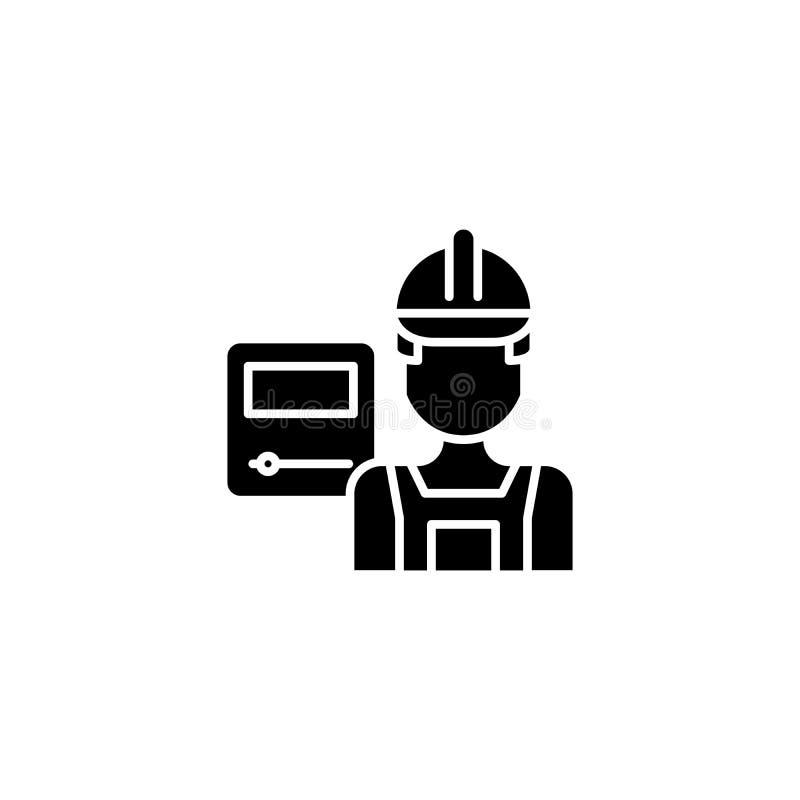 Concept d'icône de noir de travailleur industriel Symbole plat de vecteur de travailleur industriel, signe, illustration illustration stock