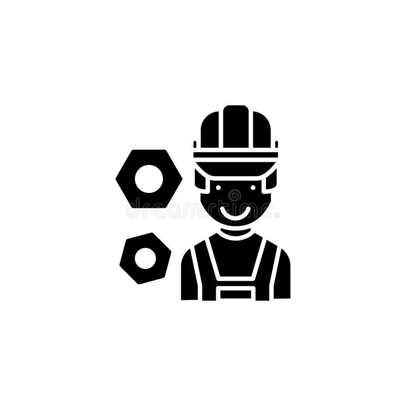 Concept d'icône de noir de travailleur d'ingénieur de construction Symbole plat de vecteur de travailleur d'ingénieur de construc illustration libre de droits