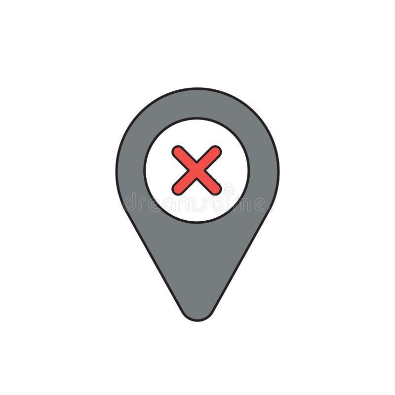 Concept d'icône de vecteur de marque de x à l'intérieur d'indicateur Contours noirs et color? illustration de vecteur