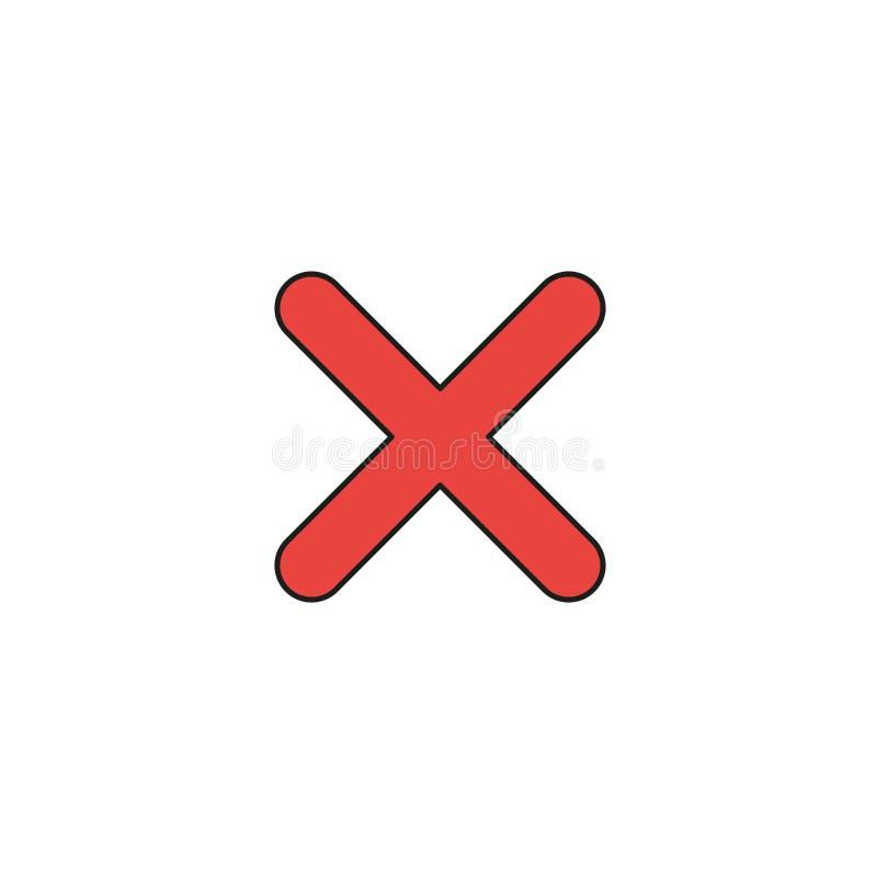 Concept d'icône de vecteur de marque de x Contours colorés et noirs illustration stock