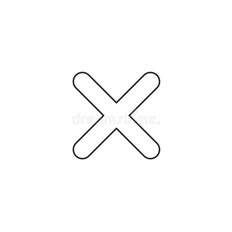 Concept d'icône de vecteur de marque de x Contours noirs illustration stock