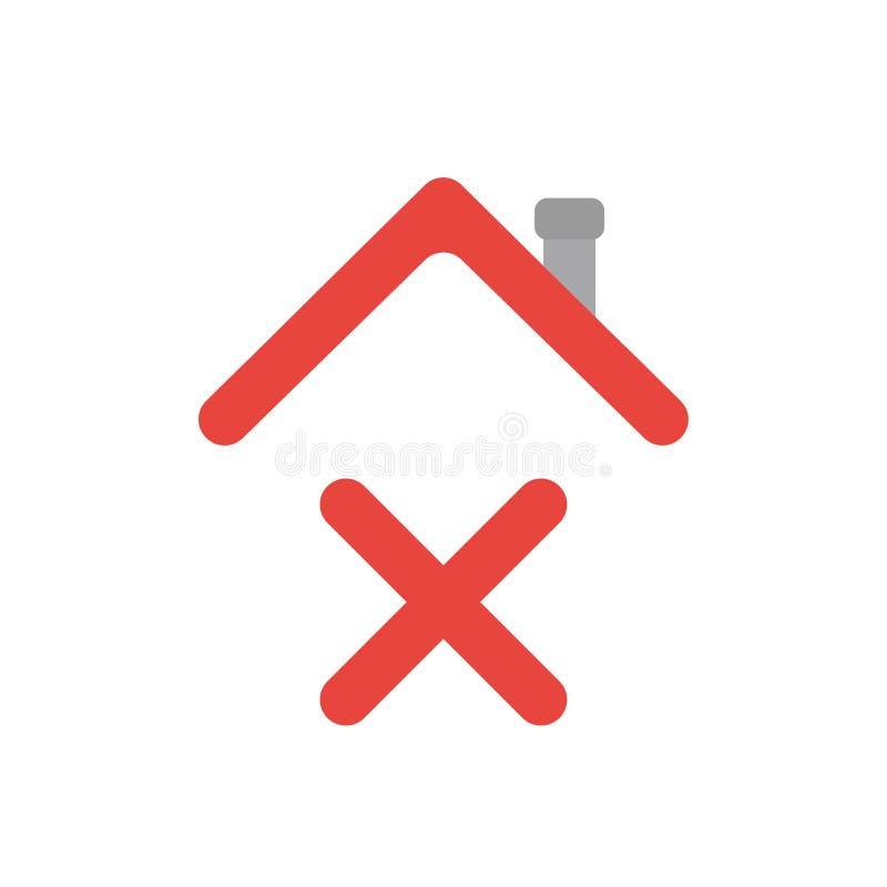 Concept d'icône de vecteur de marque de x sous le toit de maison illustration de vecteur