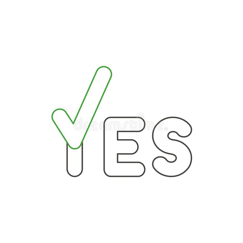 Concept d'icône de vecteur de mot d'oui avec le coche Contours de couleur illustration libre de droits