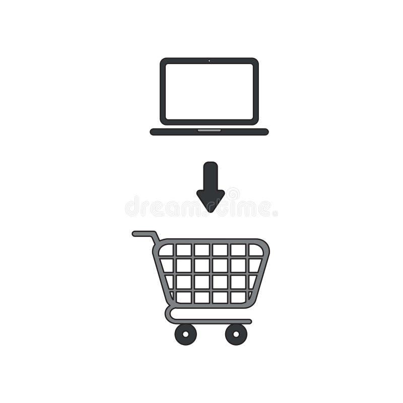 Concept d'icône de vecteur d'ordinateur portable dans le caddie illustration libre de droits