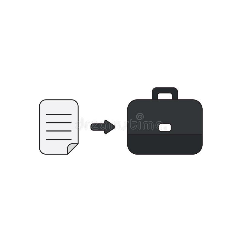 Concept d'icône de vecteur de papier écrit dans la serviette Contours noirs et color? illustration libre de droits