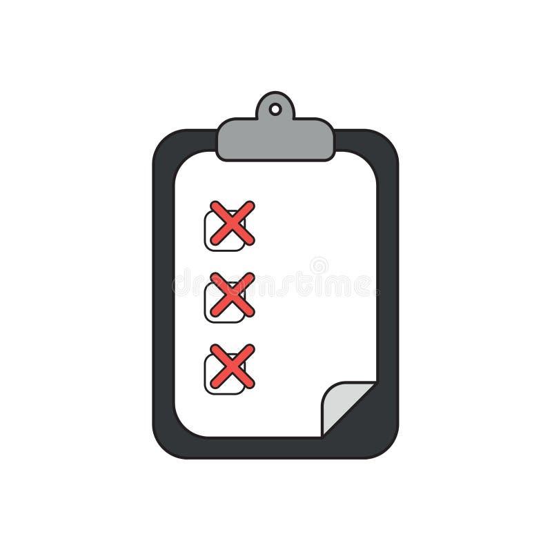 Concept d'icône de vecteur de presse-papiers avec X des marks sur le papier illustration de vecteur