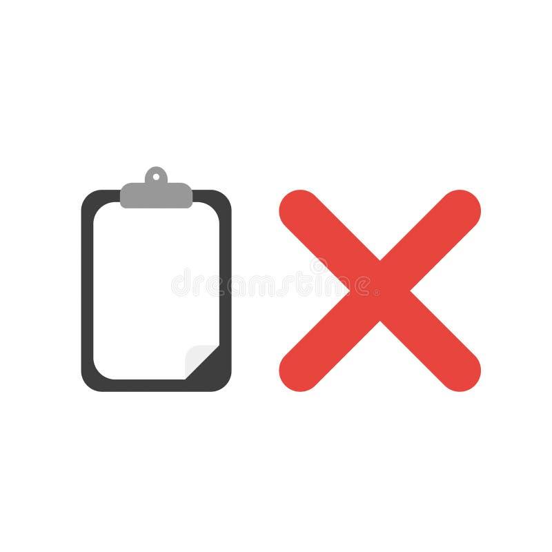 Concept d'icône de vecteur de presse-papiers avec le papier blanc et la marque de x illustration libre de droits