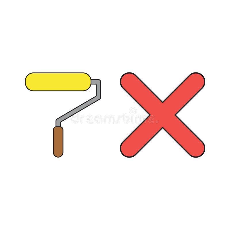 Concept d'icône de vecteur de rouleau de pinceau avec la marque de x illustration libre de droits