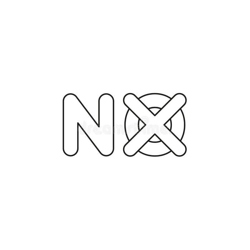 Concept d'icône de vecteur sans mot avec la marque de x Contours noirs illustration stock