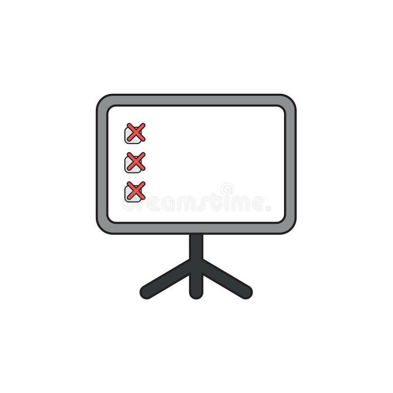 Concept d'icône de vecteur de trois marques rouges de x à l'intérieur de conseil de présentation illustration stock