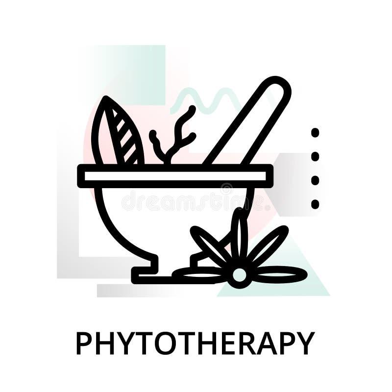 Concept d'icône phytotherapy sur le fond abstrait illustration libre de droits