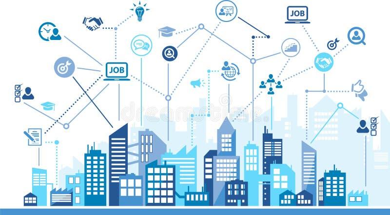 Concept d'icônes de ressources humaines avec l'horizon de ville – recrutement, travail d'équipe, carrière : illustration de vecte illustration libre de droits