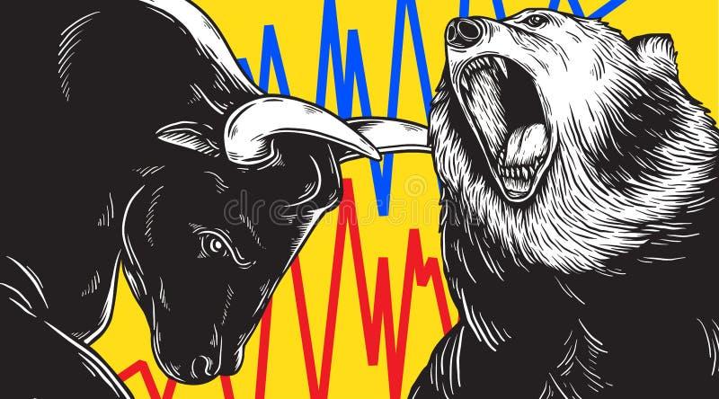Concept d'icône d'affaires d'investissement de Taureau et de marché à la baisse illustration libre de droits