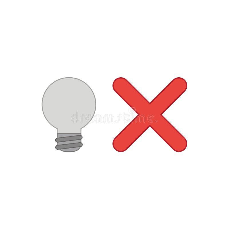 Concept d'ic?ne de vecteur d'ampoule avec la marque de x illustration stock