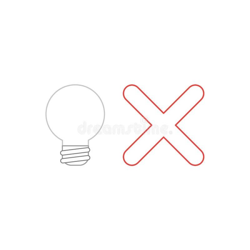 Concept d'ic?ne de vecteur d'ampoule avec la marque de x illustration libre de droits