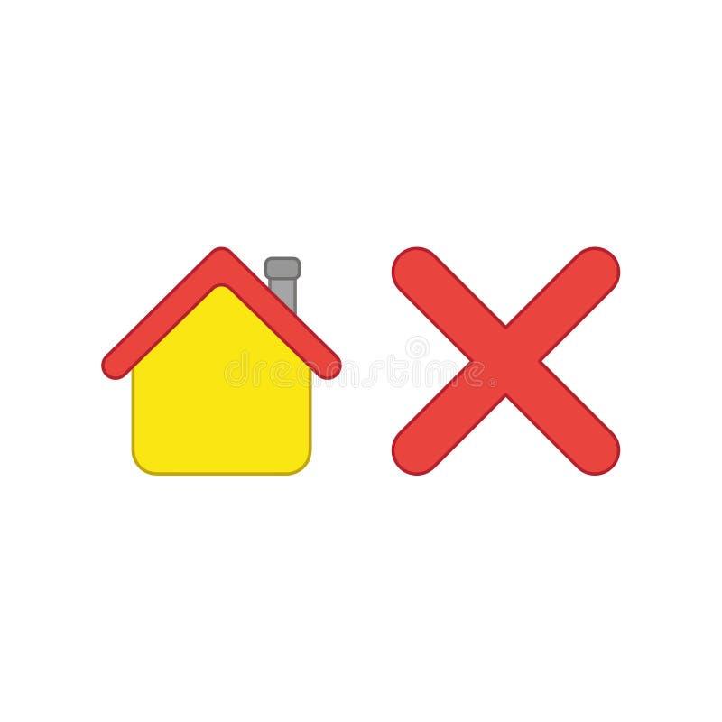 Concept d'ic?ne de vecteur de maison avec la marque de x illustration libre de droits