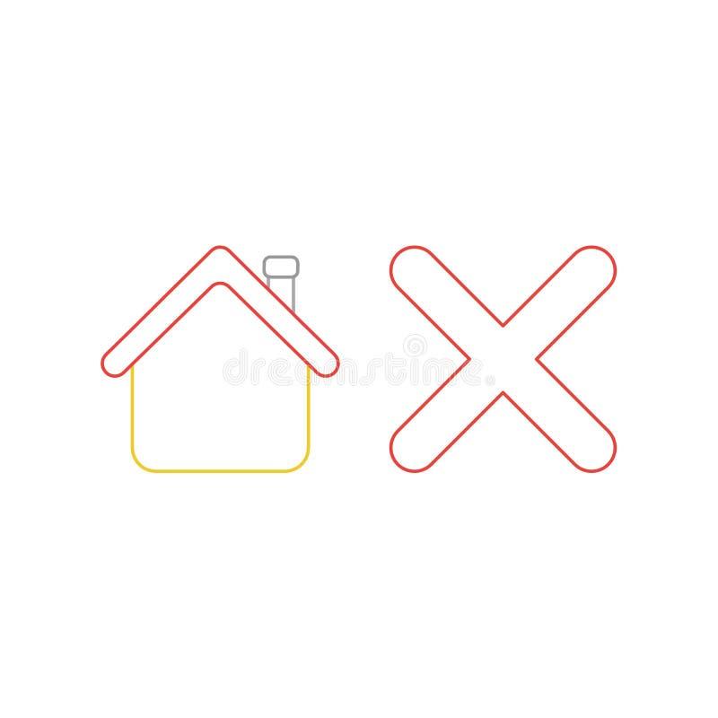 Concept d'ic?ne de vecteur de maison avec la marque de x illustration stock