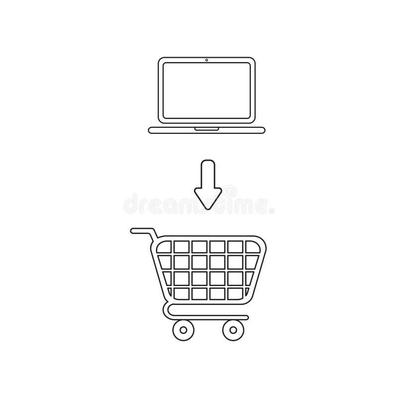 Concept d'ic?ne de vecteur d'ordinateur portable dans le caddie Contour noir illustration de vecteur