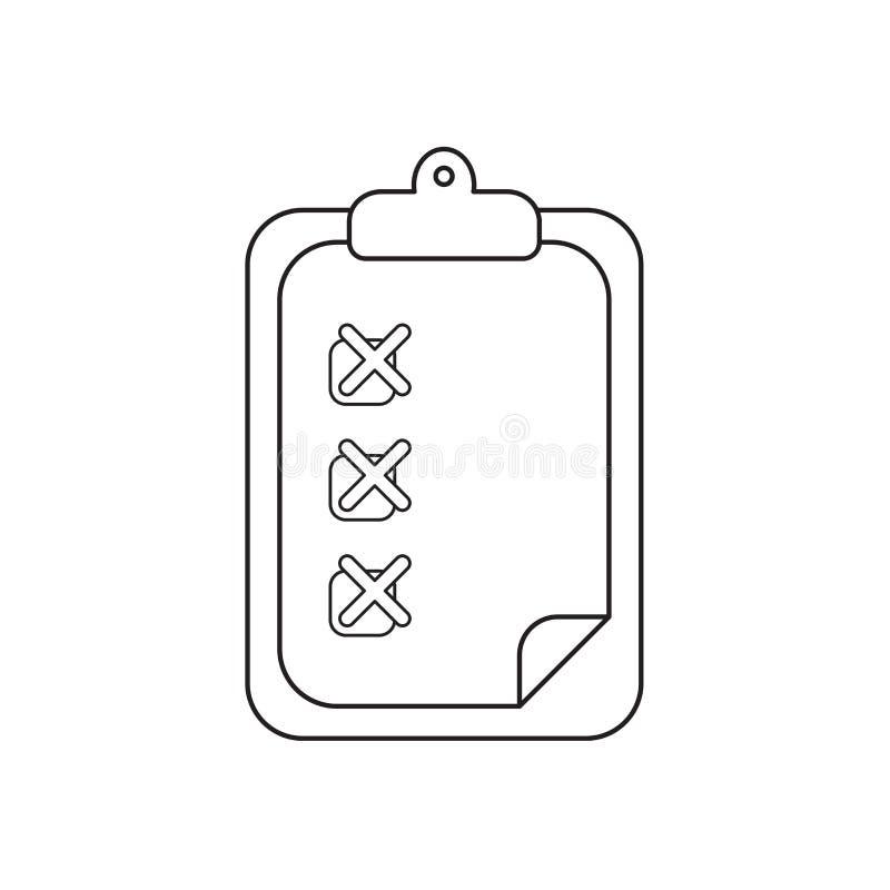 Concept d'ic?ne de vecteur de presse-papiers avec X des marks sur le papier Contour noir illustration stock